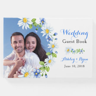 Blue White Country Daisy Floral Wedding Guest Book