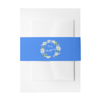 Blue White Country Daisy Floral Wedding Invitation Belly Band