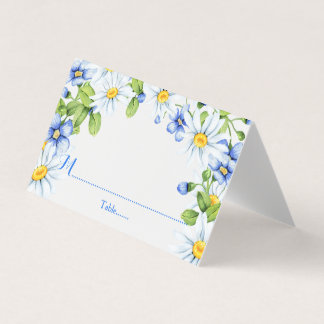 Blue White Country Daisy Floral Wedding Place Card