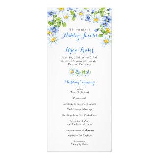 Blue White Country Daisy Floral Wedding Program Rack Card