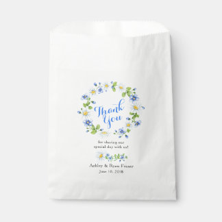 Blue White Country Daisy Floral Wedding Thank You Favour Bag