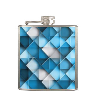 Blue & White Curved Diamond Shape Pattern design Hip Flask