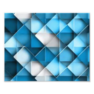 Blue & White Curved Diamond Shape Pattern design Photo Print