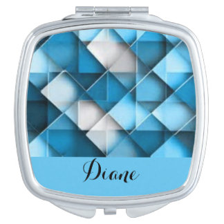 Blue & White Curved Diamond Shape Pattern design Travel Mirror