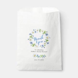 Blue White Daisy Floral Bridal Shower Thank You Favour Bag