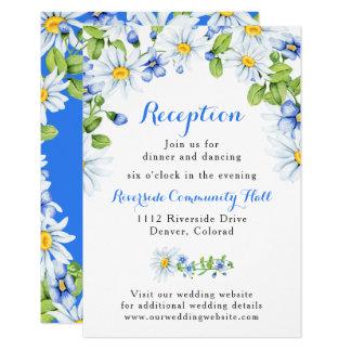 Blue White Daisy Floral Wedding Reception Insert Card