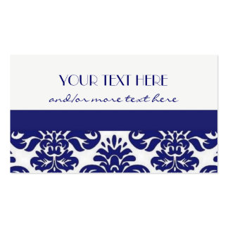 Blue White Damask Business Card Templates