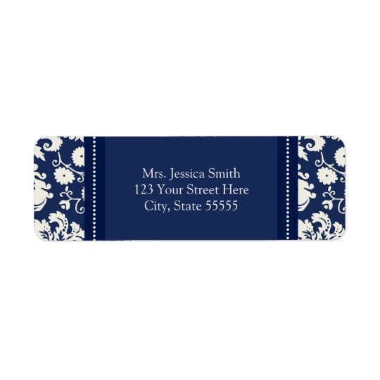Blue White Damask Custom Return Address Labels