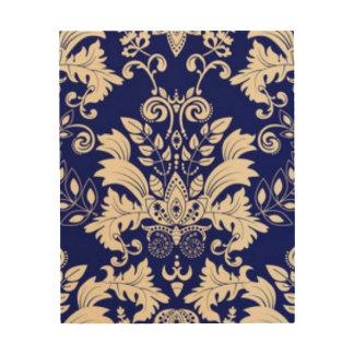 Blue & White Damask Pattern Print Design
