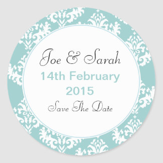 Blue & White Damask Save the Date Wedding Stickers