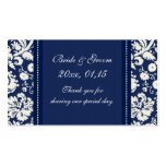 Blue White Damask Wedding Favour Tags