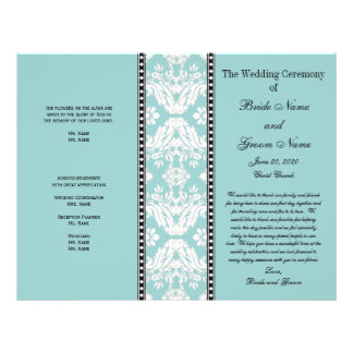 Blue  White Damask Wedding Program 21.5 Cm X 28 Cm Flyer