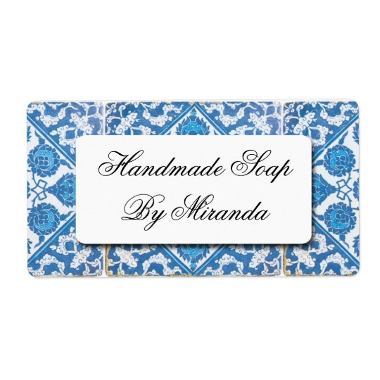 Blue White Delft Cornflower Custom Labels
