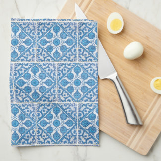 Blue White Delft Cornflower Faux Tile Pattern Hand Towels