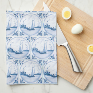 Blue White Delft Sailboat Kitchen Towel