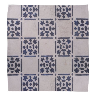 Blue White Delft Tile Art Print Pattern Bandana