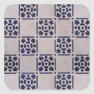 Blue White Delft Tile Art Print Pattern Square Sticker