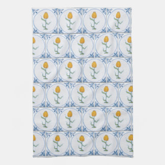 Blue White Delft Tulip Faux Tiles Kitchen Towel