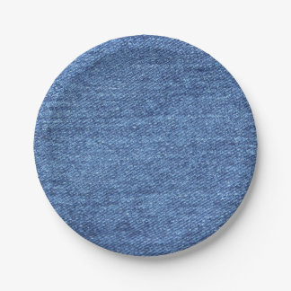 Blue White Denim Texture Look Image Paper Plate