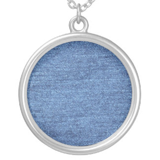 Blue White Denim Texture Look Image Silver Plated Necklace