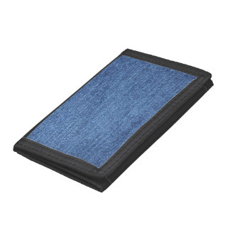 Blue White Denim Texture Look Image Tri-fold Wallets