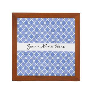 Blue & White Diamond Overlap Pattern with Name Desk Organiser