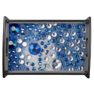 Blue & White Diamonds Blue Jean Pattern Design Serving Tray