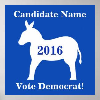 Blue White Donkey Vote Democrat Candidate Poster