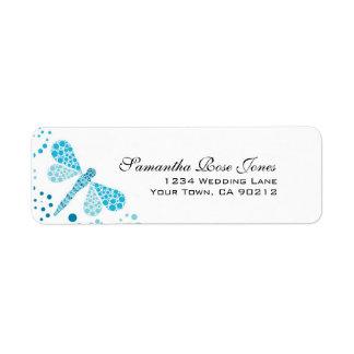 Blue & White Dragonfly Pointillism Custom Address Return Address Label
