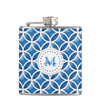 Blue White Elegant Abstract Circles Pattern Hip Flask