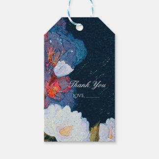 Blue & White Elegant Modern Chic Floral Favor Gift Tags