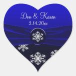 Blue & White Elegant Snowflakes Wedding Heart Sticker