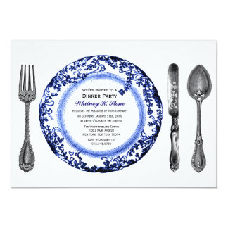 "Blue White Fine Dining Dinner Party 5"" X 7"" Invitation Card"