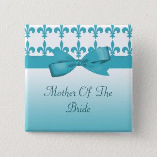 Blue & White Fleur De Lis Wedding 15 Cm Square Badge