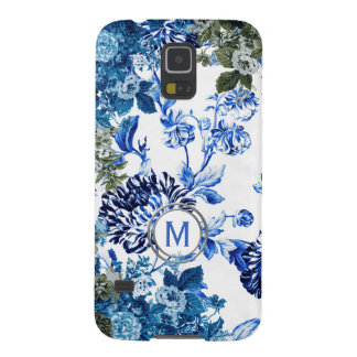 Blue & White Floral Garden Monogram Galaxy S5 Covers