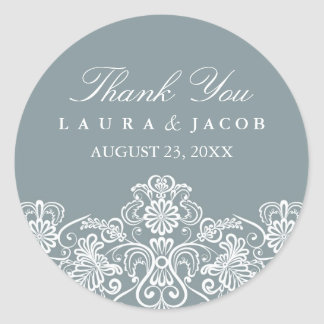 Blue & White Floral Lace Wedding Stickers
