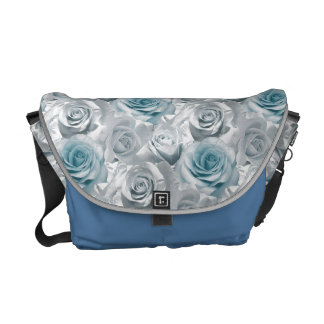 Blue White Floral pattern Rickshaw Messenger Bag