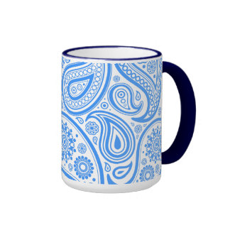 Blue White Floral Pattern Ringer Mug
