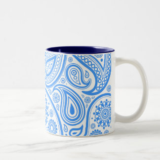Blue White Floral Pattern Two-Tone Coffee Mug