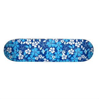 Blue & white flowers 21.6 cm skateboard deck