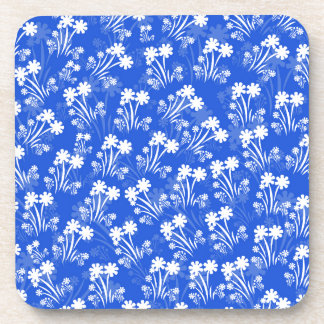 Blue White Flowers Drink Coasters