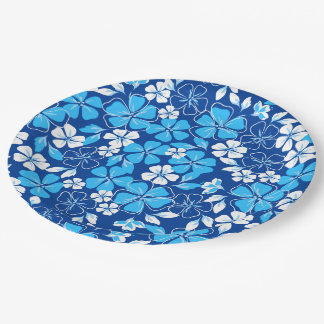 Blue & white flowers paper plate