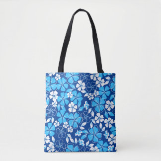 Blue & white flowers tote bag