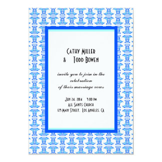 Blue White Folk Pattern Wedding 13 Cm X 18 Cm Invitation Card