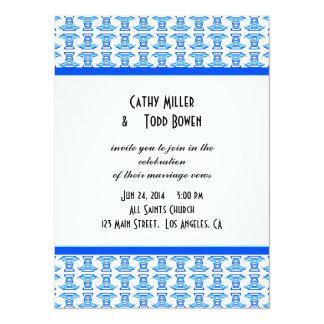 Blue White Folk Pattern Wedding 14 Cm X 19 Cm Invitation Card