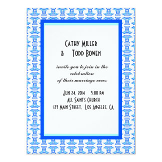 Blue White Folk Pattern Wedding Personalized Invite