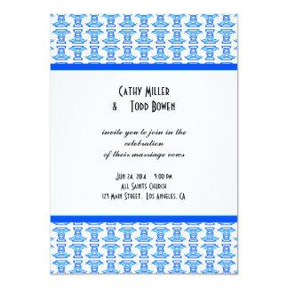 Blue White Folk Pattern Wedding 4.5x6.25 Paper Invitation Card