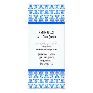 Blue White Folk Pattern Wedding Personalized Announcement