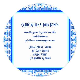 Blue White Folk Pattern Wedding 5.25x5.25 Square Paper Invitation Card