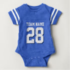 Blue White Football Jersey Sports Baby Romper Baby Bodysuit